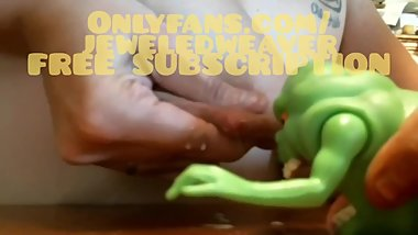 Slimer enjoys a breastmilk shower
