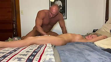 stepmom gets sensual lotion massage from stepson